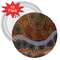 Aboriginal Traditional Pattern 3  Buttons (10 pack)