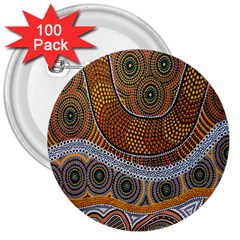 Aboriginal Traditional Pattern 3  Buttons (100 pack)