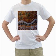 Aboriginal Traditional Pattern Men s T-Shirt (White) (Two Sided)