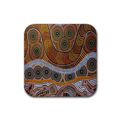 Aboriginal Traditional Pattern Rubber Square Coaster (4 pack)