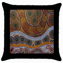 Aboriginal Traditional Pattern Throw Pillow Case (Black)