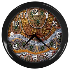 Aboriginal Traditional Pattern Wall Clocks (Black)