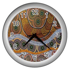 Aboriginal Traditional Pattern Wall Clocks (Silver)