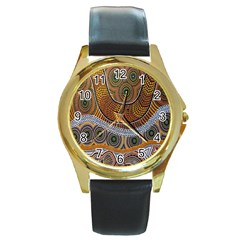 Aboriginal Traditional Pattern Round Gold Metal Watch