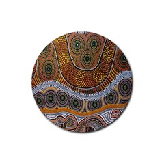 Aboriginal Traditional Pattern Rubber Round Coaster (4 pack)