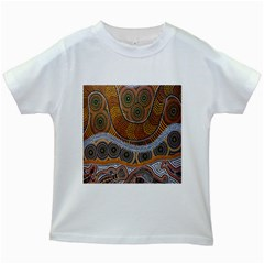 Aboriginal Traditional Pattern Kids White T-Shirts