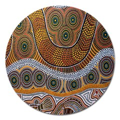 Aboriginal Traditional Pattern Magnet 5  (Round)