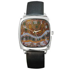 Aboriginal Traditional Pattern Square Metal Watch