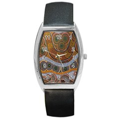 Aboriginal Traditional Pattern Barrel Style Metal Watch