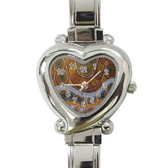 Aboriginal Traditional Pattern Heart Italian Charm Watch
