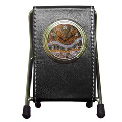 Aboriginal Traditional Pattern Pen Holder Desk Clocks