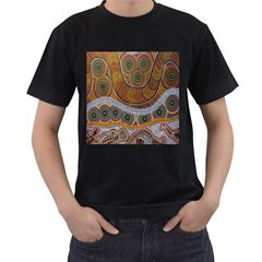Aboriginal Traditional Pattern Men s T-Shirt (Black) (Two Sided)