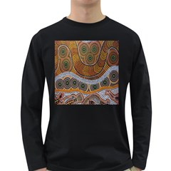 Aboriginal Traditional Pattern Long Sleeve Dark T-Shirts