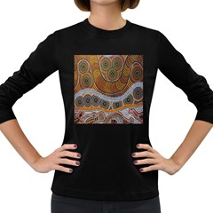 Aboriginal Traditional Pattern Women s Long Sleeve Dark T-Shirts