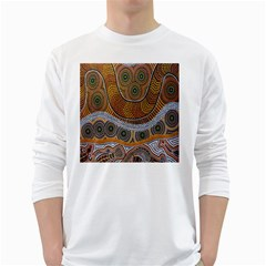Aboriginal Traditional Pattern White Long Sleeve T-Shirts