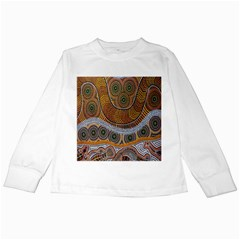 Aboriginal Traditional Pattern Kids Long Sleeve T-Shirts