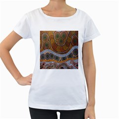 Aboriginal Traditional Pattern Women s Loose-Fit T-Shirt (White)