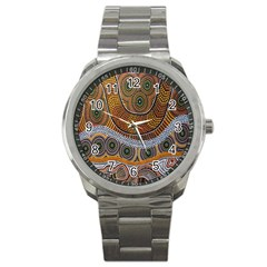Aboriginal Traditional Pattern Sport Metal Watch
