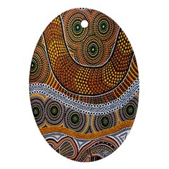 Aboriginal Traditional Pattern Oval Ornament (Two Sides)