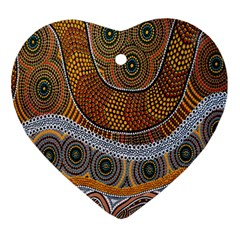 Aboriginal Traditional Pattern Heart Ornament (Two Sides)