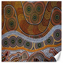 Aboriginal Traditional Pattern Canvas 16  x 16