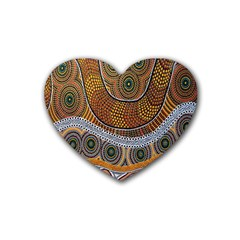 Aboriginal Traditional Pattern Rubber Coaster (Heart)