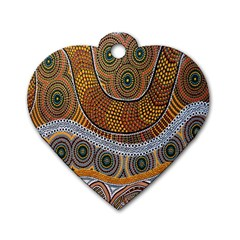 Aboriginal Traditional Pattern Dog Tag Heart (Two Sides)