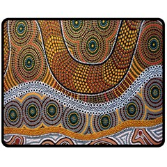 Aboriginal Traditional Pattern Fleece Blanket (Medium)
