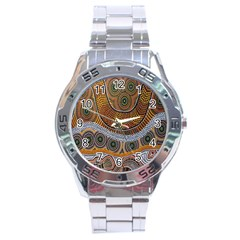 Aboriginal Traditional Pattern Stainless Steel Analogue Watch