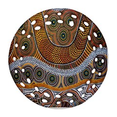 Aboriginal Traditional Pattern Round Filigree Ornament (Two Sides)