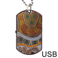 Aboriginal Traditional Pattern Dog Tag USB Flash (One Side)