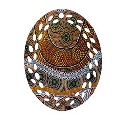 Aboriginal Traditional Pattern Oval Filigree Ornament (Two Sides)