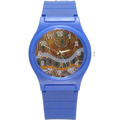 Aboriginal Traditional Pattern Round Plastic Sport Watch (S)