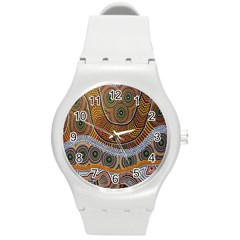 Aboriginal Traditional Pattern Round Plastic Sport Watch (M)
