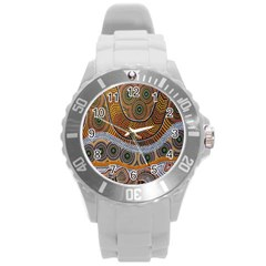 Aboriginal Traditional Pattern Round Plastic Sport Watch (L)