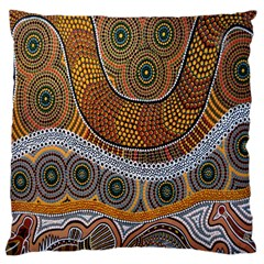 Aboriginal Traditional Pattern Large Cushion Case (One Side)