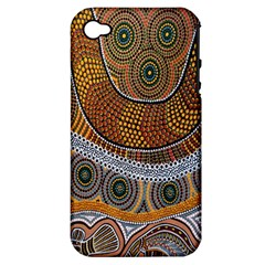 Aboriginal Traditional Pattern Apple iPhone 4/4S Hardshell Case (PC+Silicone)