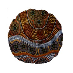 Aboriginal Traditional Pattern Standard 15  Premium Round Cushions