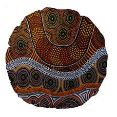 Aboriginal Traditional Pattern Large 18  Premium Round Cushions