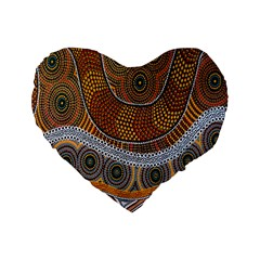 Aboriginal Traditional Pattern Standard 16  Premium Heart Shape Cushions