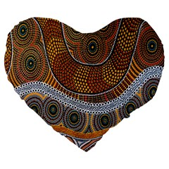 Aboriginal Traditional Pattern Large 19  Premium Heart Shape Cushions