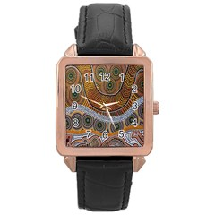 Aboriginal Traditional Pattern Rose Gold Leather Watch