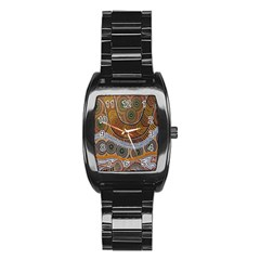 Aboriginal Traditional Pattern Stainless Steel Barrel Watch