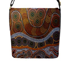 Aboriginal Traditional Pattern Flap Messenger Bag (L)