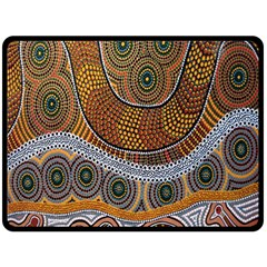 Aboriginal Traditional Pattern Double Sided Fleece Blanket (Large)