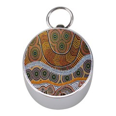 Aboriginal Traditional Pattern Mini Silver Compasses