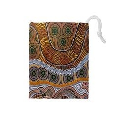 Aboriginal Traditional Pattern Drawstring Pouches (Medium)