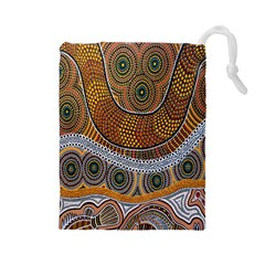 Aboriginal Traditional Pattern Drawstring Pouches (Large)