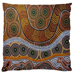 Aboriginal Traditional Pattern Large Flano Cushion Case (One Side)