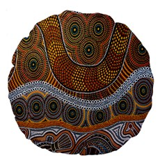 Aboriginal Traditional Pattern Large 18  Premium Flano Round Cushions